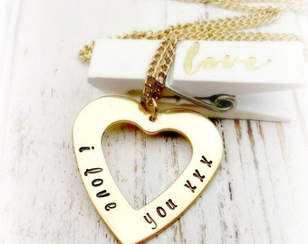 Hand Stamped,  I Love you,  Heart Necklace, Gold,