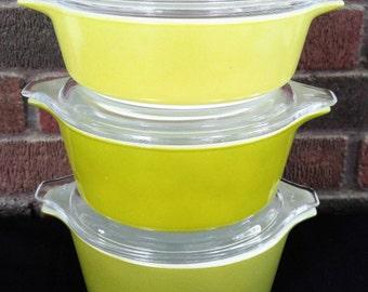"""Pyrex """"Verde""""  Cinderella Round Casserole Dishes W/Lids/Vintage Pyrex"""