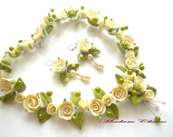 necklace earrings, necklace ivory, necklaces with roses, with roses pendant, necklace for the bride