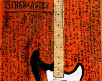 Musician Art | Buddy Holly | Guitar Art. Guitar Poster. 1958 Fender Strat electric guitar art print. 11x17.