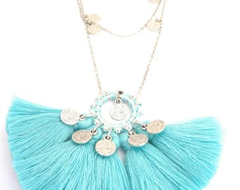 Necklace BOLLYWOOD mint PomPoms and tassels
