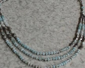 Three Strand Larimar Necklace