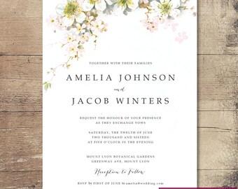 Printable Beautiful Blossom Wedding Invitation / Customisable Digital File / JPG or PDF / Pink, Yellow, White