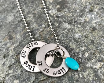 It Is Well With My Soul  hand stamped on two stainless steel washers.