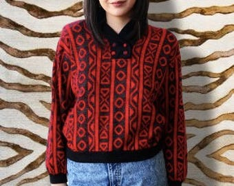Vintage 1980's Red and Black Geometric Button Collar Sweater