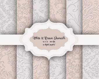 12 White & Cream Damask Digital Papers - floral damask pattern backgrounds for scrapbooking, wedding invitations, cards - commercial use