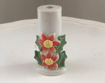 Tiny Vintage Holiday / Christmas Poinsettia Candleholder