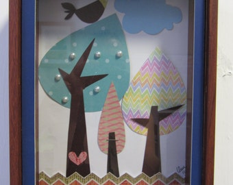 """Picture of wood and paper """"forest"""" piece original"""