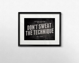 Black White 5x7 Art Print, Rap Song Wall Art, Don't Sweat the Technique Typography, Eric B and Rakim 90s Rap Lyrics Dorm Room Decor
