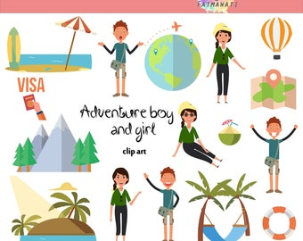 Digital Images - Adventure boy and girl- commercial use, instant download