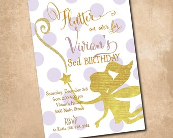 """Fairy Birthday Invitation...""""Flutter on Over.."""" /DIGITAL FILE/printable/wording and colors can be changed"""