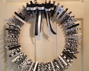 Black and white tuxedo clothespin wreath