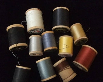 Vintage J&P Coats Wooden Spools with Cotton Thread, Various Sizes and Colors