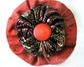 YoYo Pin Brooch Free Shipping Orange Metallic Gold Vintage Fabrics and Button