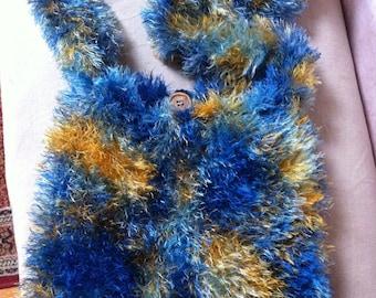 multicolored Fur Wool bag has blue green