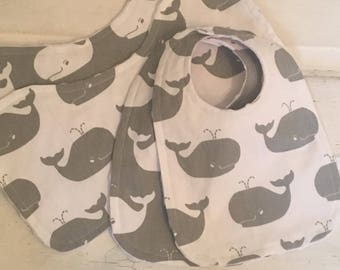 Happy Grey Whale Baby Bibs and Burp Cloths Set!  FREE SHIPPING !!
