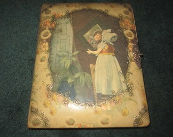 Antique Edwardian Celluloid Photograph Album with Little Girl Gazing into Mirror