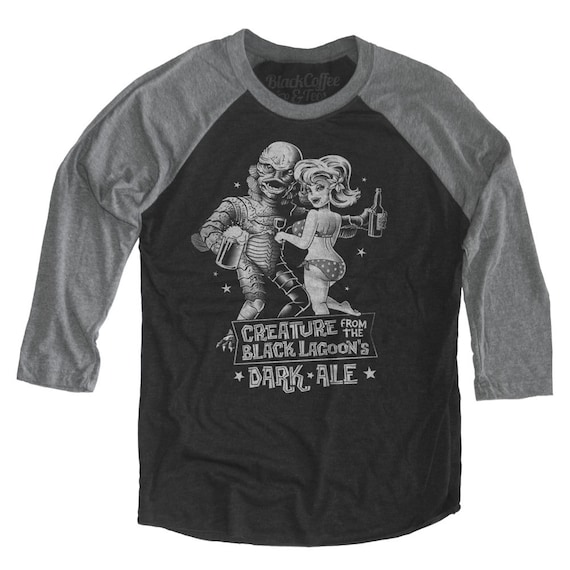 Creature from the Black Lagoon Shirt - Old Horror Film Shirt - Creature From the Black Lagoon Dark Ale Printed on a Unisex Baseball Tee
