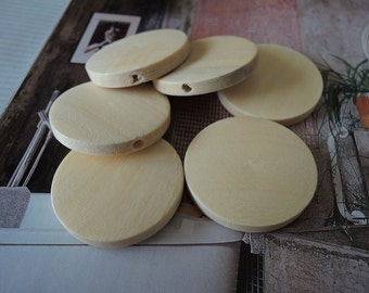 12 Pcs 30mm Natural Wood Circles Wooden discs Unfinished round disk  Bead  (W016)
