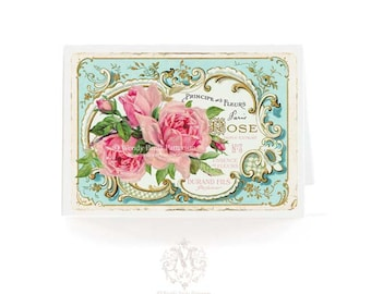 French vintage rose card, birthday card, card for her, friendship card, blank all occasion card