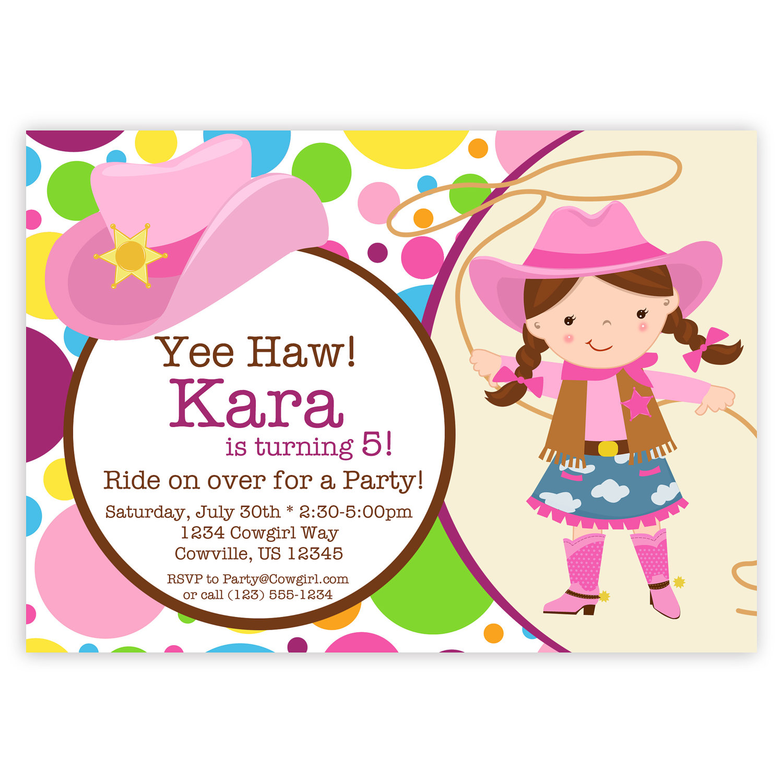 Cowgirl Invitation Pink Purple Yellow Polka Dots Girl