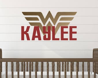 Wonder Woman Wall Decal - Superhero Wall Decal - Girl Name Wall Decal
