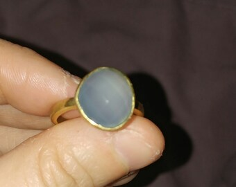 Free shipping to USA Blue chalcedony ring 9