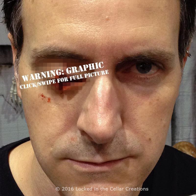 Missing Eye prosthetic gouged out eye zombie prosthetic