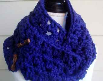 Crocheted Scarf/Cowl, Winter Scarf/Cowl, Buttoned Scarf/Cowl, Blue Scarf/Cowl, Handmade