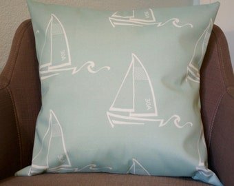 Sailboats Blue Stone Indoor/Outdoor Pillow Cover