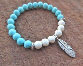 Howlite Turquoise Bracelet, Chakra Bracelet, Healing Meditation Bracelet, Yoga Bracelet, Wrist Mala, Buddhist Bracelet