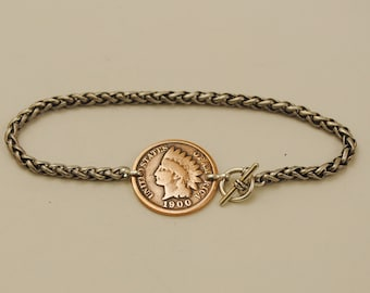 Indian Head Penny Coin Bracelet 1900