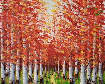 Red Tree Path,  20x24  100% Hand Painted  Oil Painting on Canvas,