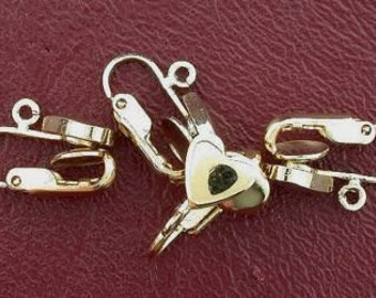 four 8mm goldplated heart clip on earrings with loop