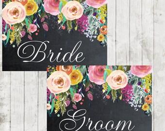 "printable Bride Groom signs,  chalkboard wedding signs, chalkboard bride groom signs, digital wedding signs,7"" x 5"","
