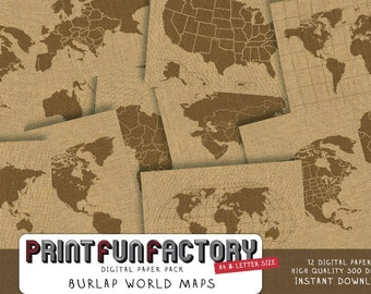 World maps digital paper - maps of the world burlap backgrounds - 12 digital papers (#084) INSTANT DOWNLOAD