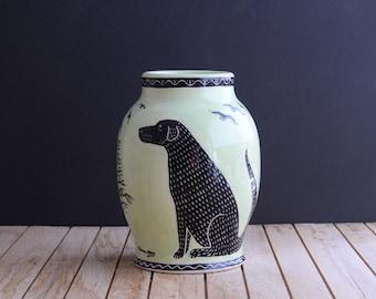 Ceramic vase Black Labrador retriever / black spaniel etc