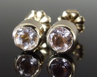Morganite and 14k Yellow Gold Stud Earrings, Morganite Stud Earrings, 14k Gold Earrings, Everyday Earrings