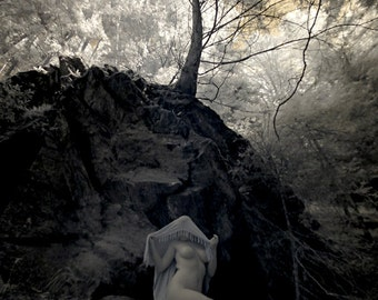 Infrared artistic nude photography naked in nature fine art photo print sensual outdoor - Priestess in Infrared - 13