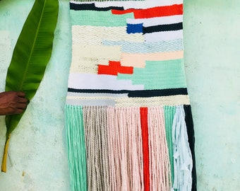 Color blocked woven wallhanging