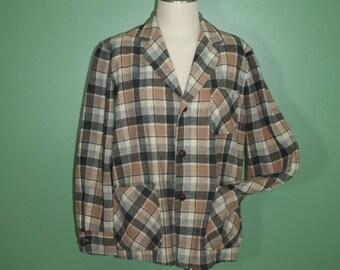 Vintage Pendleton Virgin Wool Plaid 49er Jacket Shirt Gray Tan Cream 3 PocketRetro Rockabilly Mid Century 50's 60's Medium
