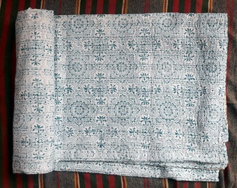 Handmade Hand Dyed Block Printed Kantha Quilt Floral Printed Queen Size Gudri 90X108