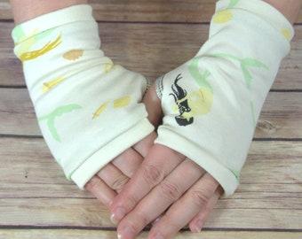 Womens Fingerless Gloves - Organic arm warmers- Short Gloves- Fingerless mitts-Texting Gloves  - Driving Gloves-Best Seller - Flowers