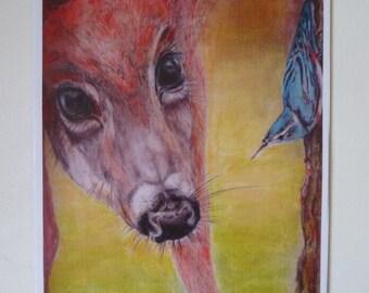 Deer and Nuthatch.Nursery animal illustration.British Wildlife.Birds.Print A4 mounted.Original art.Pencil and pastel.