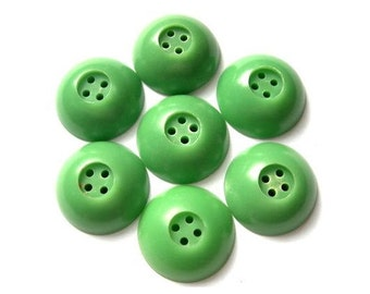 7 Antique vintage plastic buttons green 23mm, 8mm thick RARE