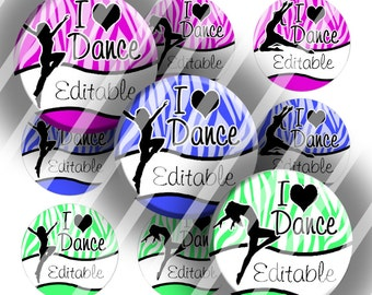"Editable Bottle Cap Collage Sheet - Love Dance Bright (249) - 1"" Digital Bottle Cap Images"