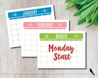 2018 Printable Wall Calendar - Monday Start - Fun Casual Color Banner Monthly Wall Calendar and Family Planner - Instant Download