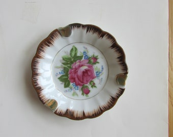 Porcelain Pink Rose Ashtray Plate Hand Painted