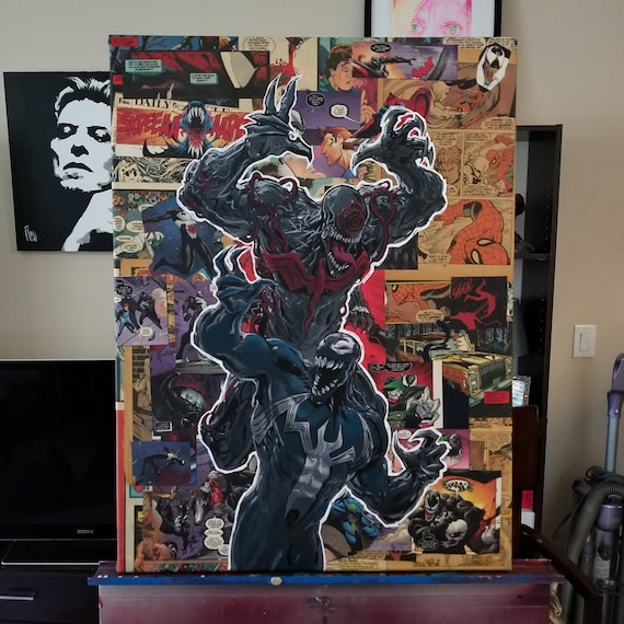 Venom Acrylic Collage Painting