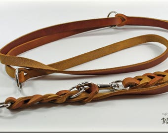 Leather leash, 3 times adjustable, oiled leather dog leash braided